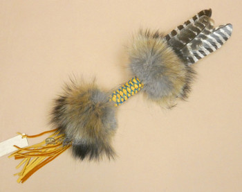 Braided Handle Beaded Turkey Feather Prayer Fan - Navajo
