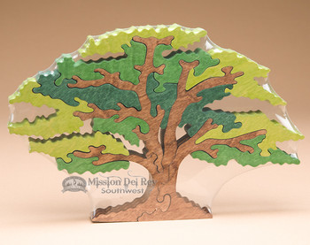 Handcrafted Amish Jig Saw Puzzle -Oak Tree