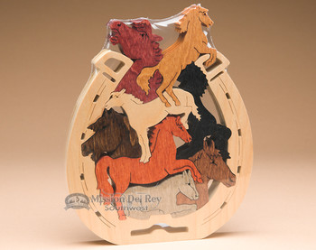 Handcrafted Amish Jig Saw Puzzle -Horses