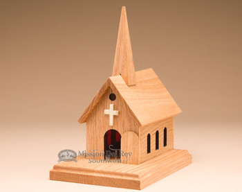 Amish Handcrafted Oak Church Music Box