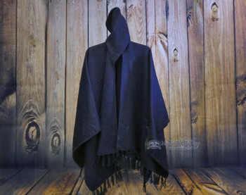 100% Alpaca Hooded Shawl - Navy