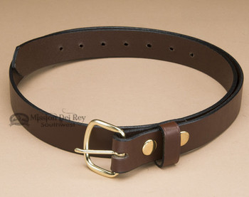 Handcrafted Amish Leather Belt -Brown with Brass Buckle