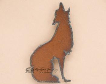 Rustic Metal Art Magnet -Wolf