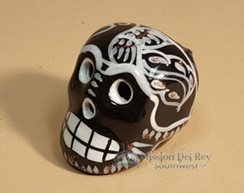 Hand Painted Day of the Dead Skull Magnet -Black & White