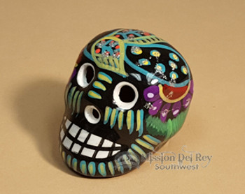 Hand Painted Day of the Dead Skull Magnet -Black/Green