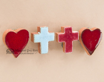 Hand Glazed Saltillo Tile Cross Magnet Set