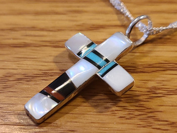 Zuni Inlaid Silver Cross and Necklace Set 20""