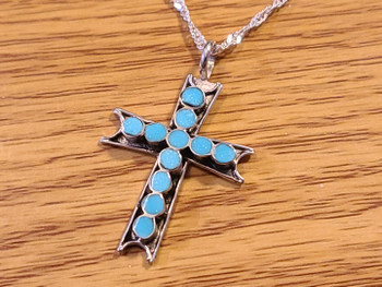 Indian Silver & Turquoise Cross Necklace 20""