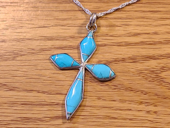 Navajo American Indian Silver & Turquoise Cross Necklace