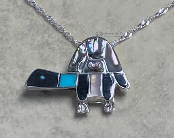 "Native American Opal Pin/Pendant Turtle Silver Necklace Set 20"""