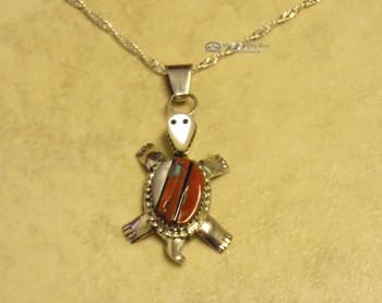 """Zuni Turtle Pendant Necklace - 20"""" Chain"""