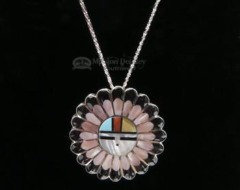 "Native American Sunface Pin/Pendant Silver Necklace Set 20"""