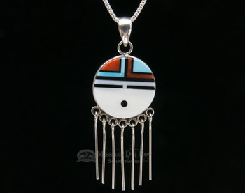 Native American Hopi-Sun Pin/Pendant Silver Necklace 20""
