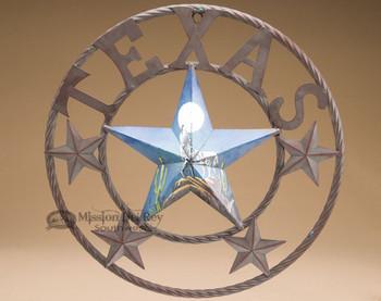 Handpainted Rustic Metal Texas Star - Wolf