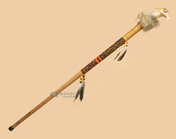 Creek Walking Stick with Carved Eagle Head