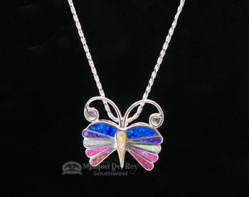 """Navajo Indian Butterfly Pin/Pendant Silver Necklace 18"""""""