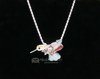 Navajo Pin/Pendant Hummingbird Silver Necklace 20""