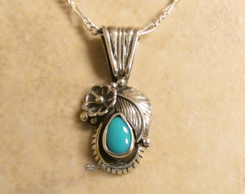 Native American Sterling Silver and Turquoise Necklace