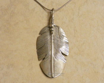 Sterling Silver Navajo Feather Pendant Necklace