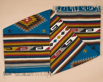 "Zapotec Hand Woven Wool Runner Rug 30""x120"" - Turquoise"