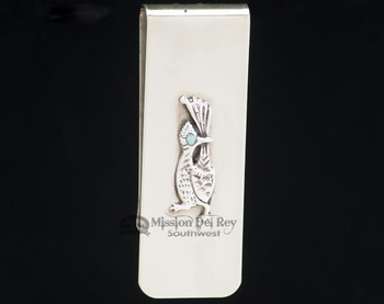 Southwest Zuni Sterling Silver Money Clip - Road Runner