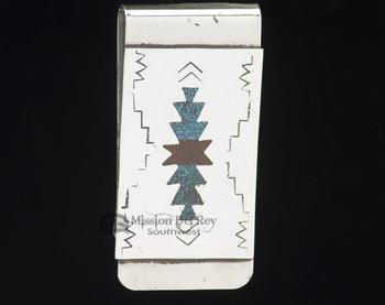Navajo Indian Sterling Silver Money Clip