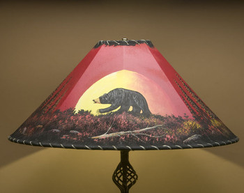 "Western Painted Leather Lamp Shade 24"" - Moonlit Bear"