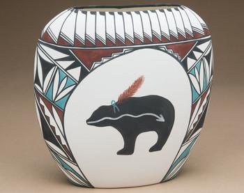 Native American Clay Pottery Flat Vase