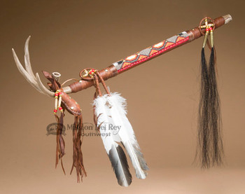 Native American Antler Beaded Peace Pipe