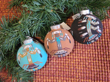 Native American Sand Painted Christmas Ornaments 3 pc Set