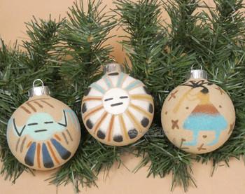 Navajo Sand Painted Christmas Ornaments 3 pc Set