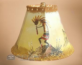 "Painted Leather Lamp Shade 8"" -Kokopelli"
