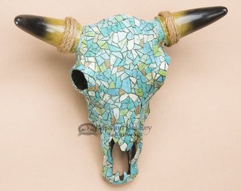 Southwest Decorative Steer Skull - Turquoise