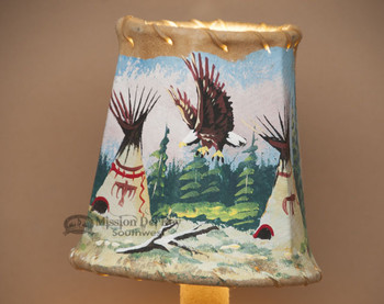 Painted Leather Chandelier Lamp Shade - Eagle Village 4""