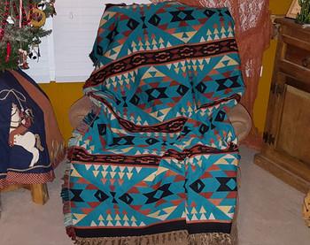 Southwestern Woven Throw - Lakota Turquoise