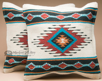 Pair Southwest Wool Pillow Covers 18x18 -Laguna Style