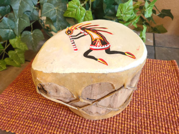 Native Tarahumara Indian Painted Log Drum - Kokopelli