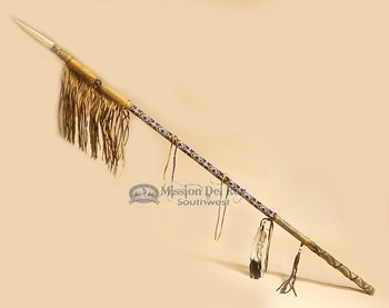 Old Style Navajo Beaded Lance -Deer Skin