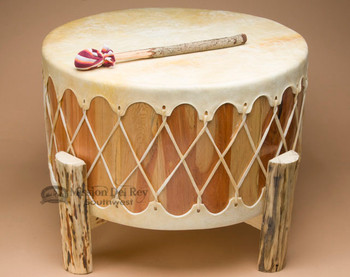 Cedar rawhide drum with base - light hide