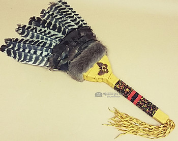 Beaded Leather Wrapped Handled Prayer Fan