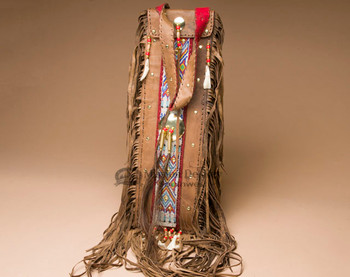 """Tigua Pueblo Indian Elk Hide Pipe Bag 20"""" -Brown"""