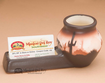 Hand Painted Pottery Vase - Business Card Holder