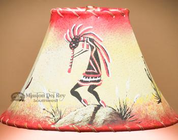 "Hand Painted Leather Lamp Shade 12"" -Kokopelli"