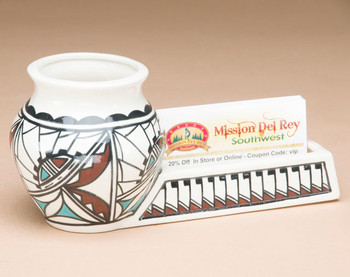 Native American Pottery Desk Caddy - Business Card Holder