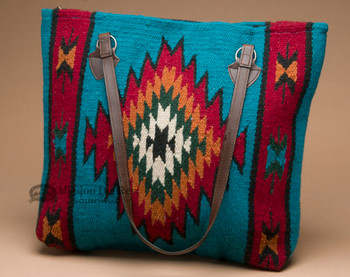 Southwest Tapestry Rug Wool Purse -Turquoise
