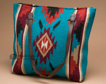 Southwestern Woven Wool Purse -Turquoise Steps