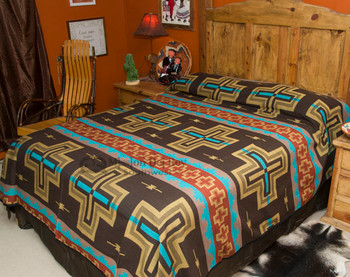 Western Bedspread -Cochiti Brown QUEEN -Front