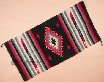 Southwestern Hand Woven Fiesta Rug 32x64 -Black & Red