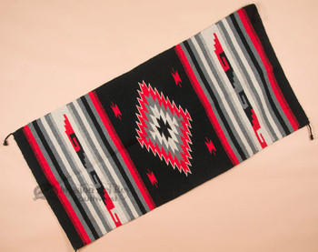 Southwestern Hand Woven Fiesta Rug 32x64 -Black & Red
