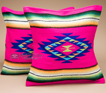 Serape Style Southwestern Pillow Covers - Pink